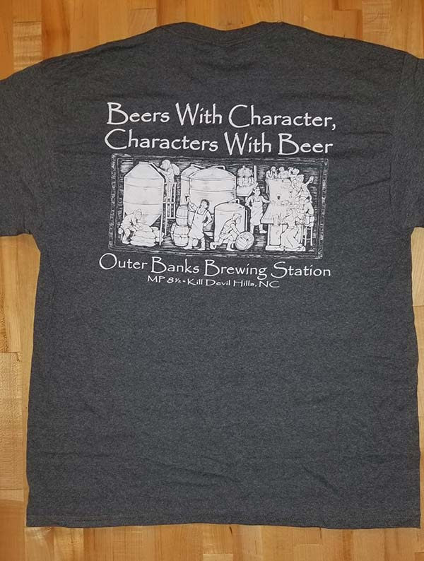 Outer banks brewing station Beer with Character Grey t shirt